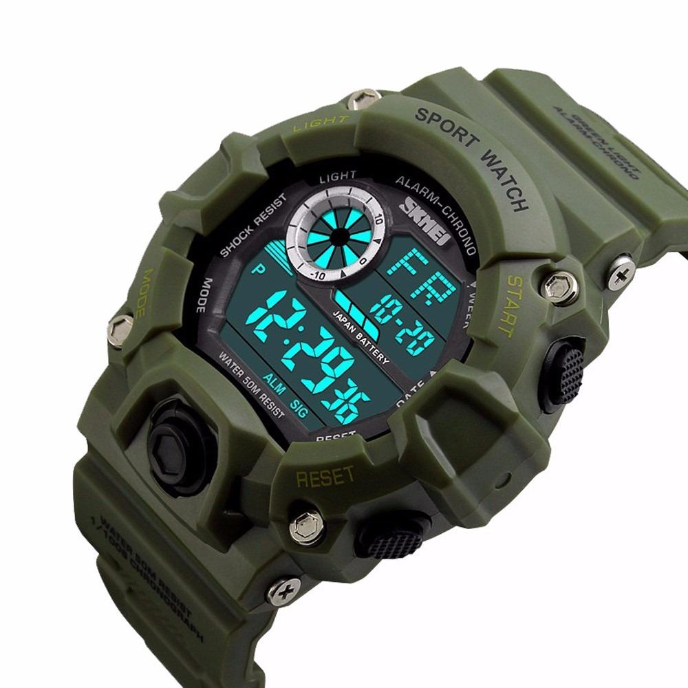 2fb53dcf3e8 relógio prova d agua skmei s-shock militar digital verde. Carregando zoom.