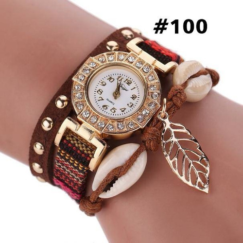 relógio pulseira couro feminino com pingente folha lindo
