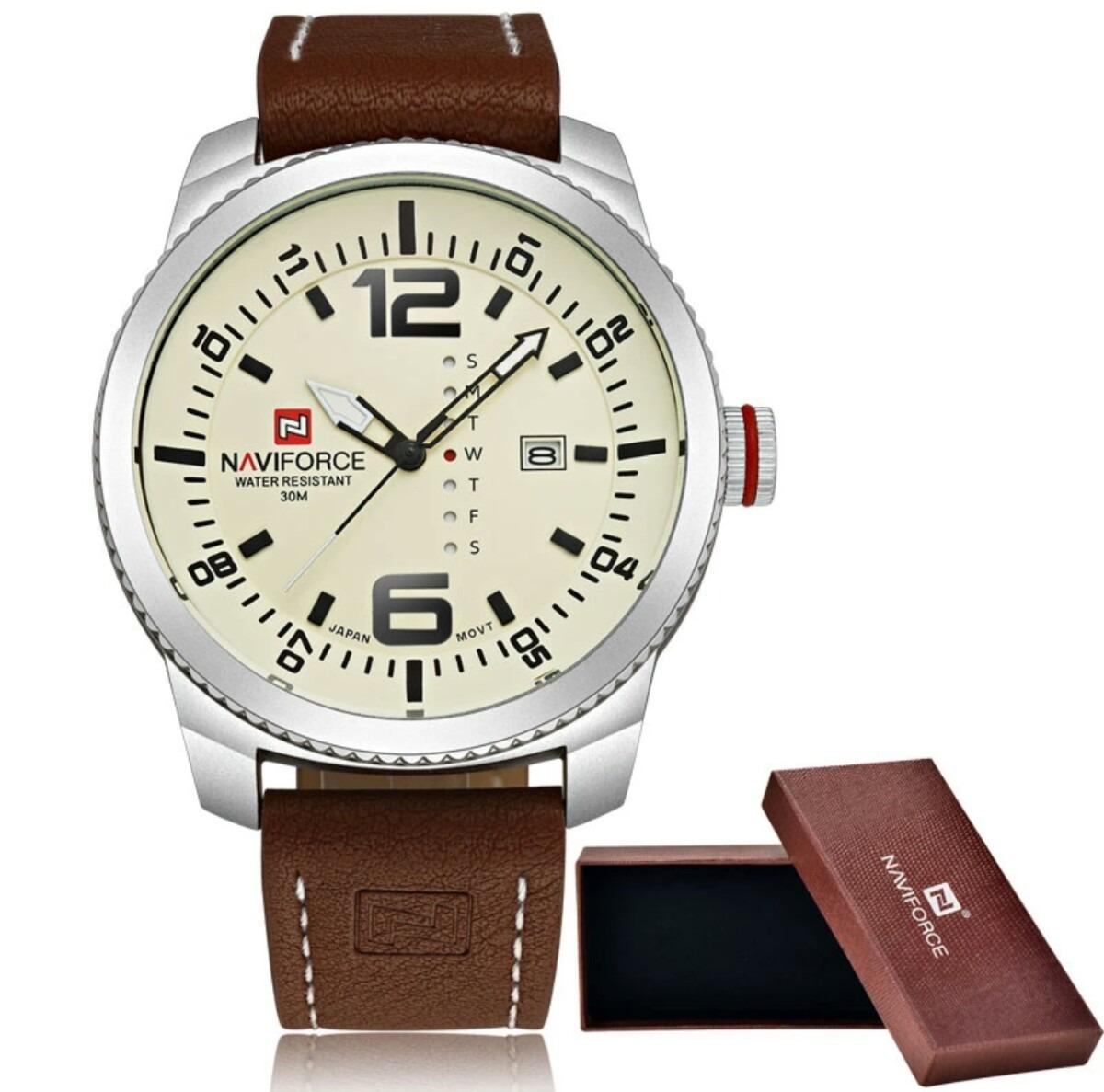 c78380b1bb1 relógio pulseira couro marrom original naviforce analógico. Carregando zoom.