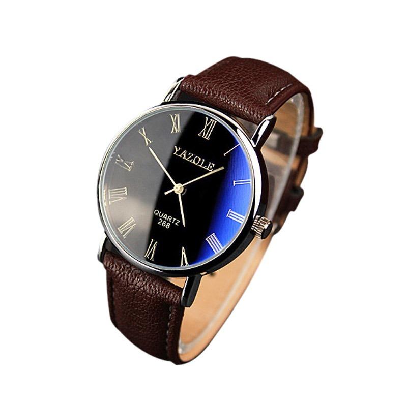 9089f58cc5f relógio pulseira couro social masculino barato luxo yazole. Carregando zoom.