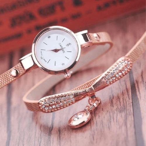 relógio pulseira de couro, com pedra vintage feminino
