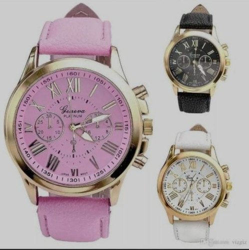 relogio pulseira de couro feminino rose luxo geneva