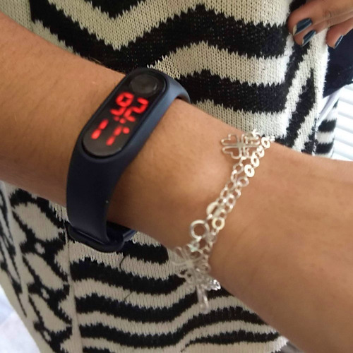 relógio pulseira esportivo bracelete led masculino feminino