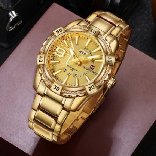 relógio pulso analógico naviforce dourado prova dágua d luxo