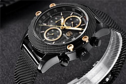 relógio pulso - benyar - aço inox - 43mm - hardlex