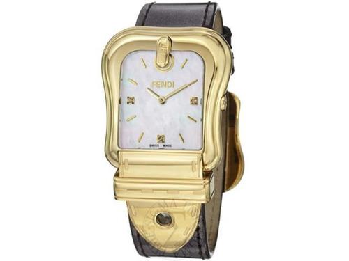 relógio pulso c/ diamante fendi feminino couro preto vivara