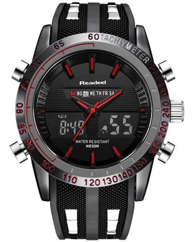 relógio pulso dual time digital analógico masculino readeel