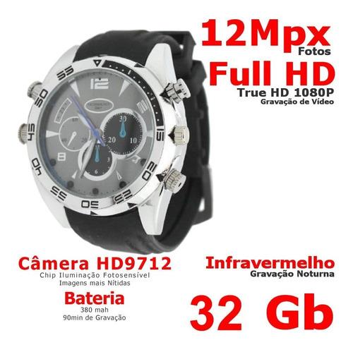 relogio pulso espião 32gb full hd 1080 câmera oculta 12mpx