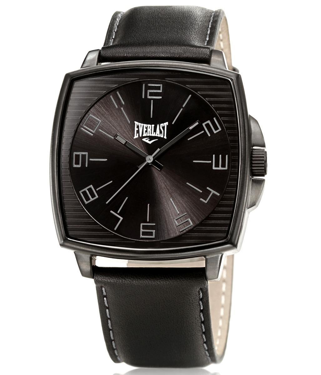 185518779db relógio pulso everlast caixa aço e pulseira couro e208 preto. Carregando  zoom.