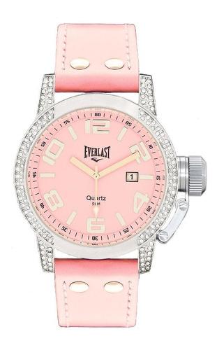 relógio pulso everlast feminino aço couro rosa e064