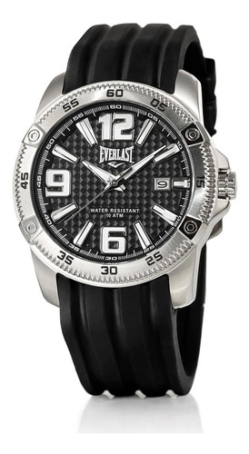 relógio pulso everlast masculino aço silicone preto e189
