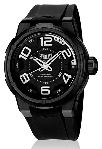 relógio pulso everlast masculino esporte silicone preto e684