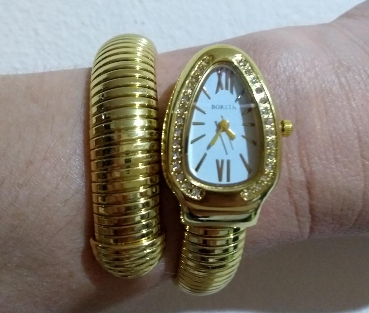 5e5fb59b304 Relógio Pulso Feminino Serpente Cobra Branco Dourado Borstn - R  149 ...