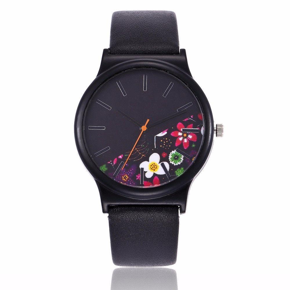 8b7678842e1 relógio pulso feminino retrô couro padrão floral dial quartz. Carregando  zoom.