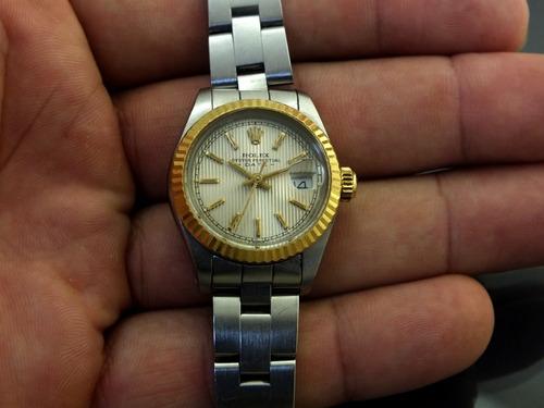 relógio pulso feminino rolex calendário em aço ouro j19985