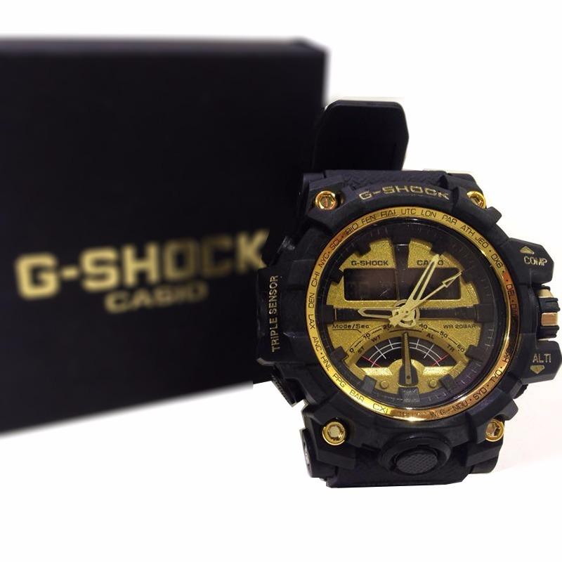 9d377d7cc77 relógio pulso g-shock preto dourado triple sensor ana-digi. Carregando zoom.
