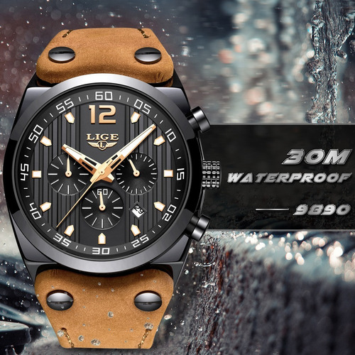 relógio pulso - lige - 44mm - multifuncional