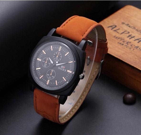 e900ac4450b Relógio De Pulso Para Homem Pulseira Marrom Soxy Masculino - R  55 ...