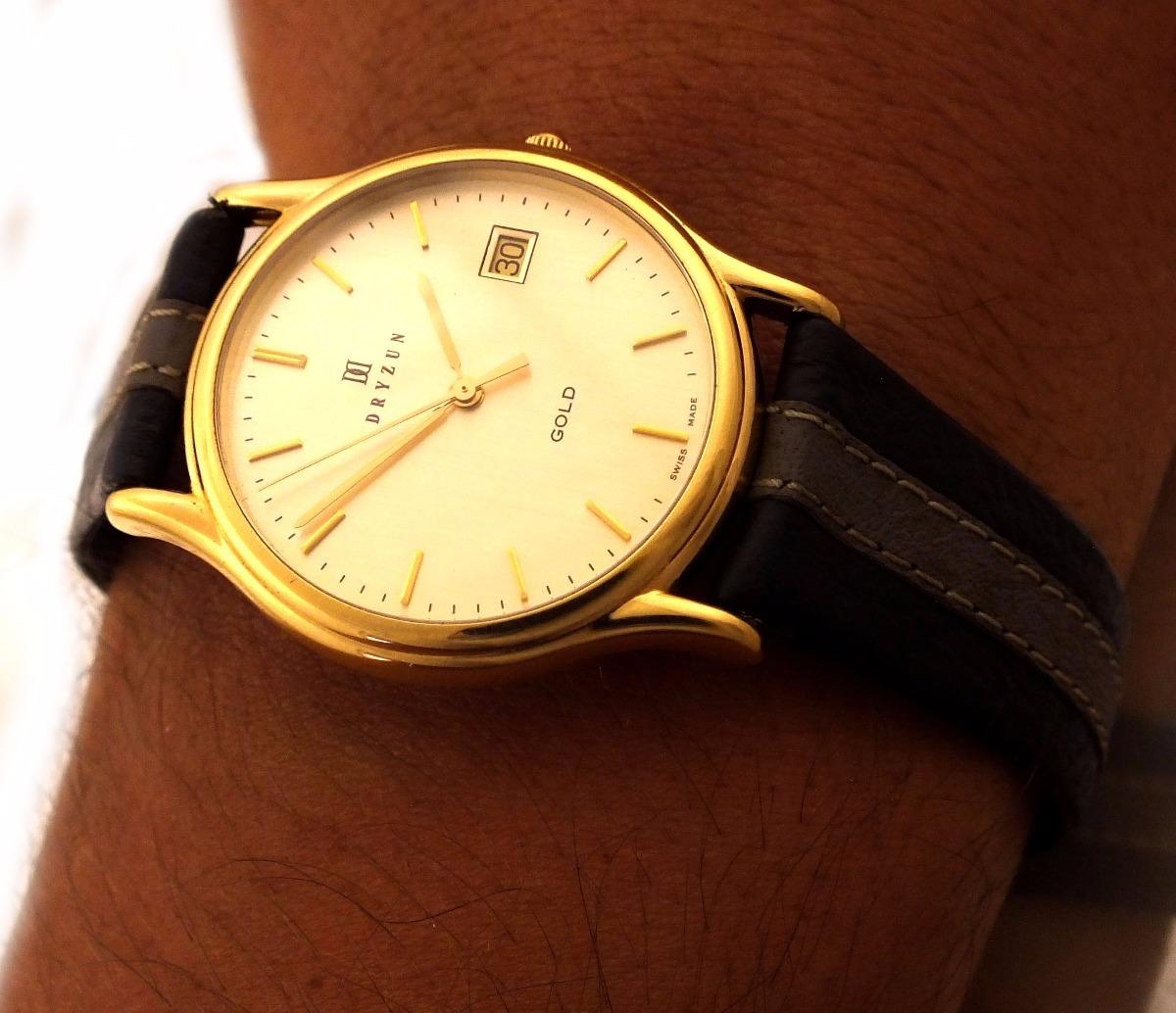 3bde20d5482 Relógio De Pulso Dryzun Masculino Em Ouro 18k J19999 - R  2.999