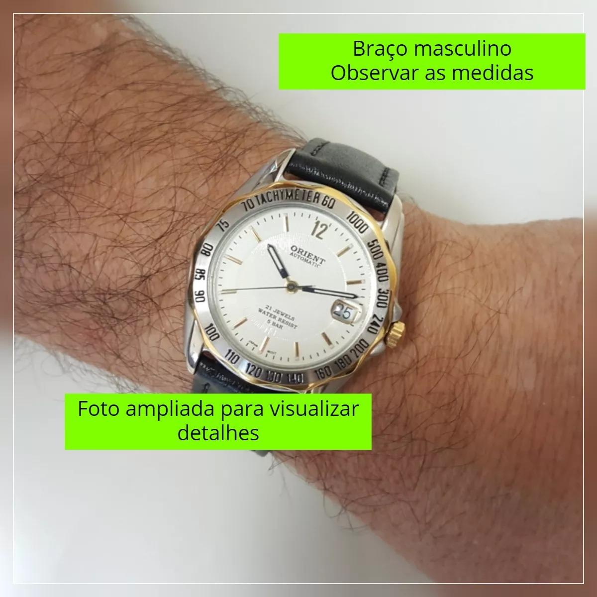 8c03229fe7e relógio pulso masculino automático fundo branco data orient. Carregando zoom .