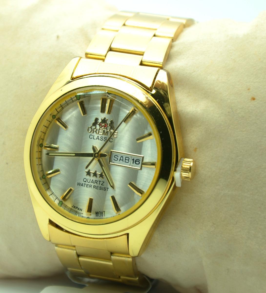 da19c47bc34 relógio pulso masculino dourado estilo clássico social barat. Carregando  zoom.