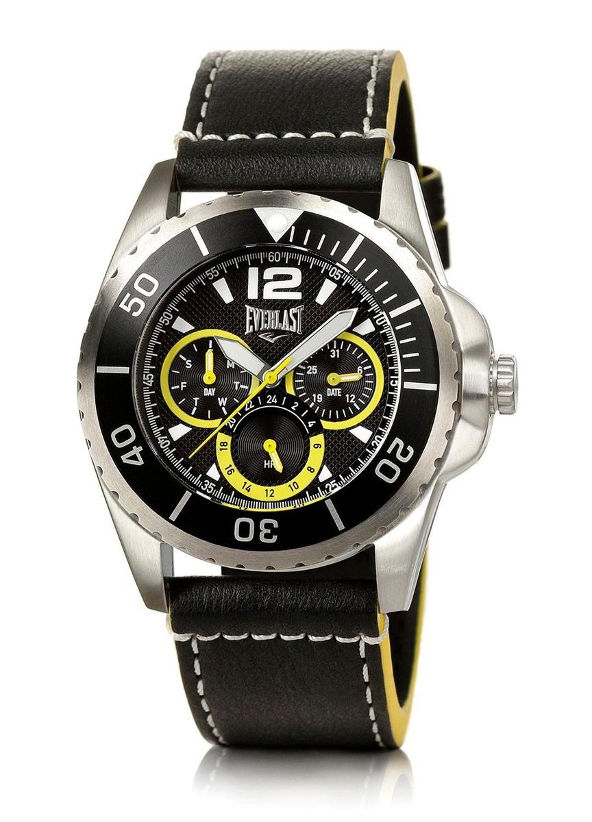 979ca5cf038 Relógio Pulso Masculino Everlast Pulseira Couro Cronógrafo - R  414 ...