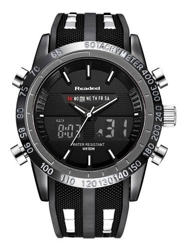 relógio pulso masculino readeel dual time digital analógico