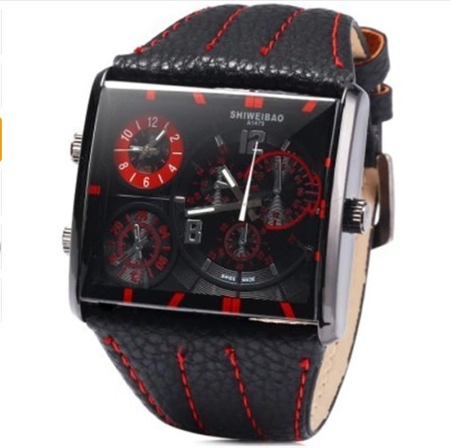 98236dd1a9e Relógio Pulso Masculino Red Black Shiweibao Analógico Fuso - R  120 ...