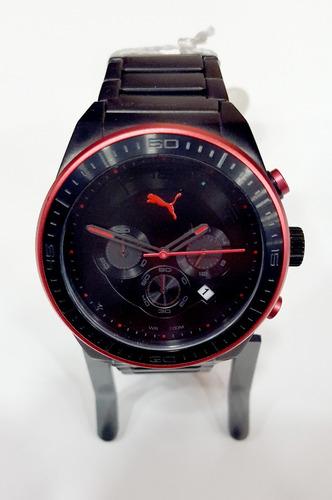 relógio pulso puma metal preto vermelho 96175gppa4 original