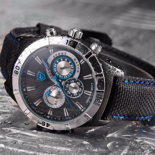 relógio pulso - shark sport 46mm aço inox - vidro hardlex