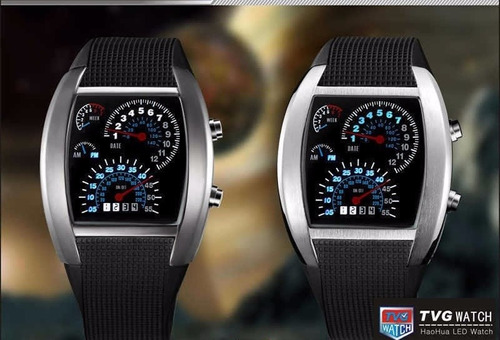 relógio pulso tvg led matrix azul iluminado data digital
