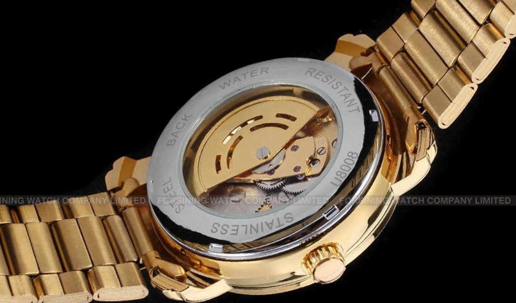f4885ff70cf relógio pulso winner esqueleto automático banhado a ouro. Carregando zoom.