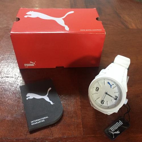 relógio puma branco feminino pulseira de borracha