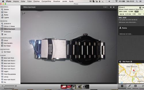 relógio puma masculino stripe metal silver black 96130g0pmn