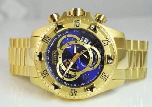 df8f582a417 Relógio Q0017 Invicta Excursion 6471-6469 Dourado Fundo Azul - R  382