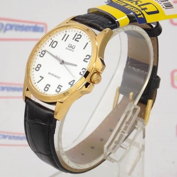 09e67200814 Relógio Q q Masculino Dourado Pulseira Couro Preto Qa06j104y - R ...