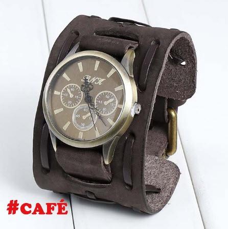 relógio quartz bracelete masculino pulseira  em couro