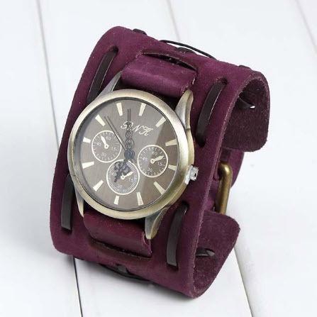 relógio quartz bracelete retro masculino pulseira  em couro