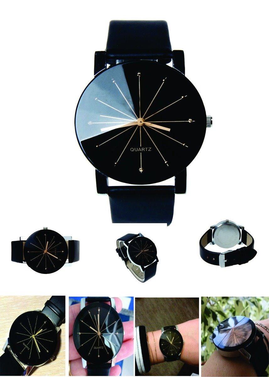 12d1512ceb5 relógio quartz feminino pulseira de couro preto. Carregando zoom.