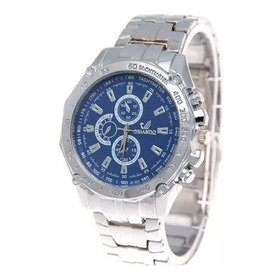 Relógio Quartz Masculino Aço Cromado Fundo Azul M/ Orlando