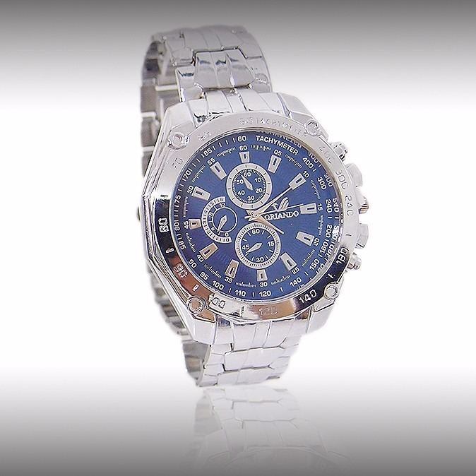 b5de706874c Relógio Quartz Masculino Aço Cromado Fundo Azul M  Orlando - R  39 ...
