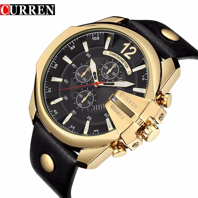 67218de0d76 relógio quartz masculino curren dourado couro original inox. Carregando  zoom.