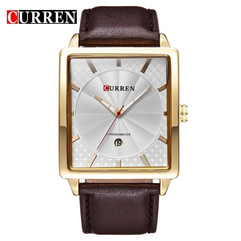 d3bee7666fb relógio quartz masculino quadrado curren pulseira em couro. Carregando zoom.