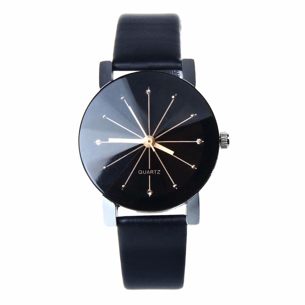 fec308dee51 relógio quartz unissex pulseira de couro preta. Carregando zoom.