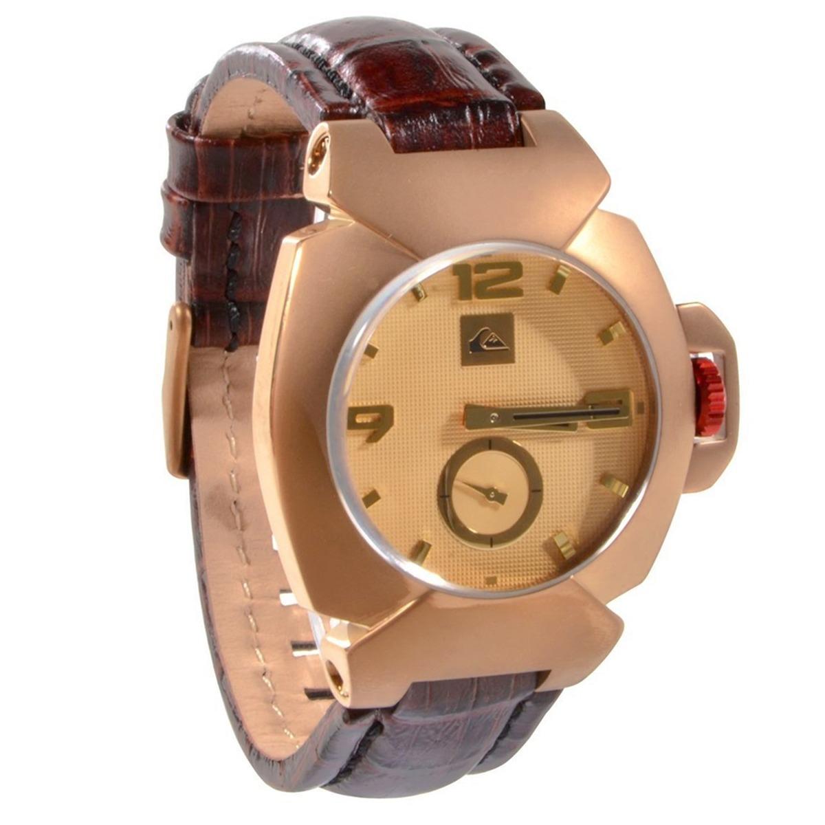 d90f42180fdcf relógio quiksilver foxhound leather cooper dourado. Carregando zoom.