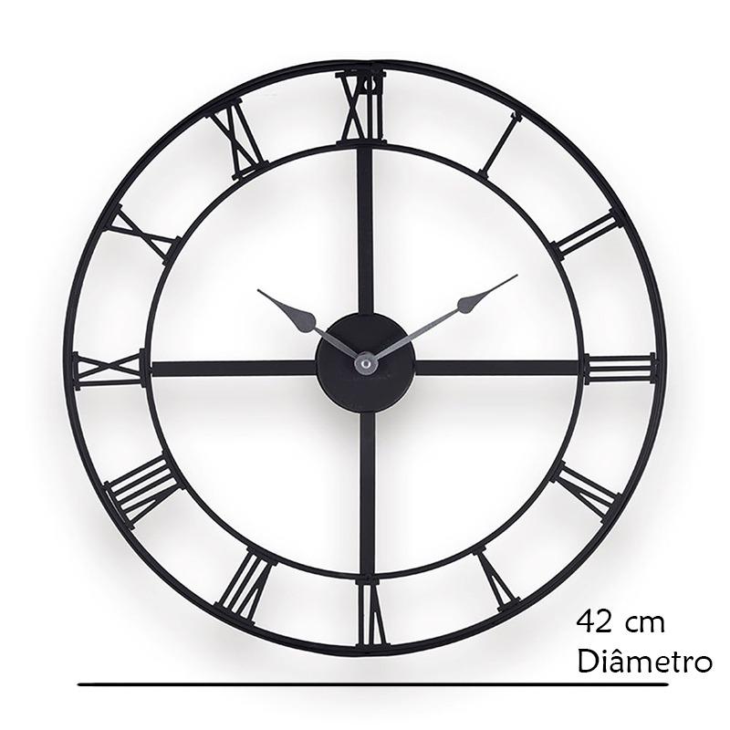 44ebd8cd15 relógio redondo de metal preto número romanos dois ponteiros. Carregando  zoom.