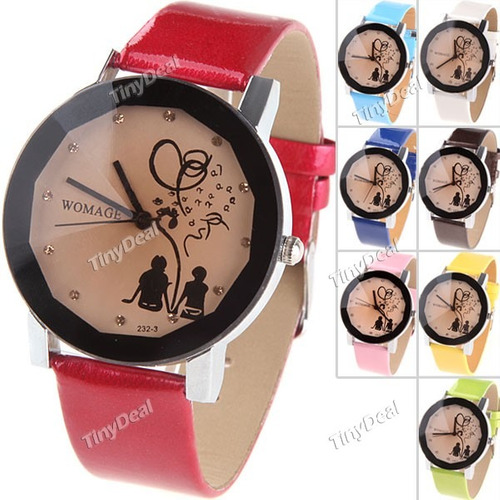 relógio redondo quartzo pulseira imita couro - vermelho