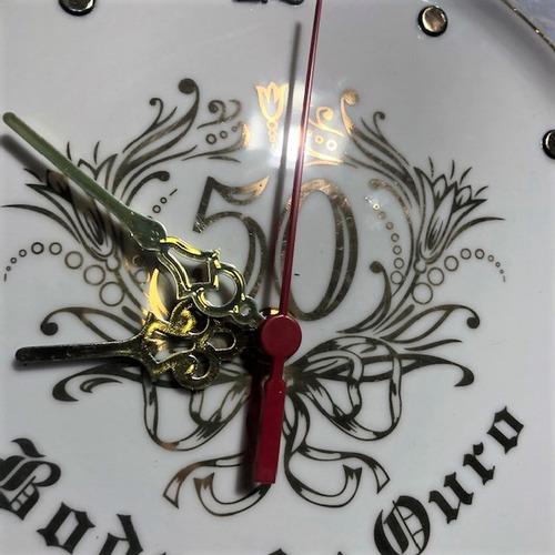 relógio relevo para bodas de ouro - o519