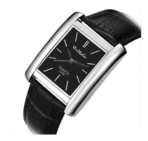 relógio retangular prata fd preto pulseira preto promoção!!!