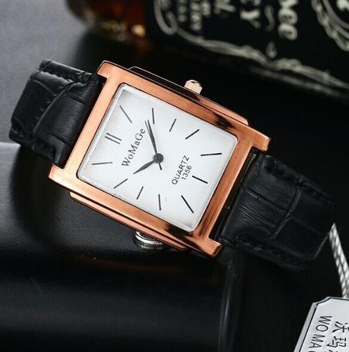 relógio retangular rosê pulseira preto 1356 promoção!!!